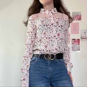 Floral sheer button-up